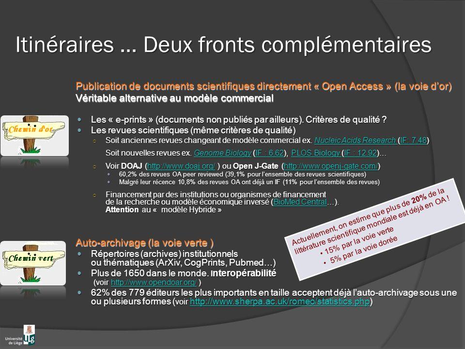 Itinéraires … Deux fronts complémentaires Publication de documents scientifiques directement « Open Access » (la voie dor) Véritable alternative au modèle commercial Les « e-prints » (documents non publiés par ailleurs).