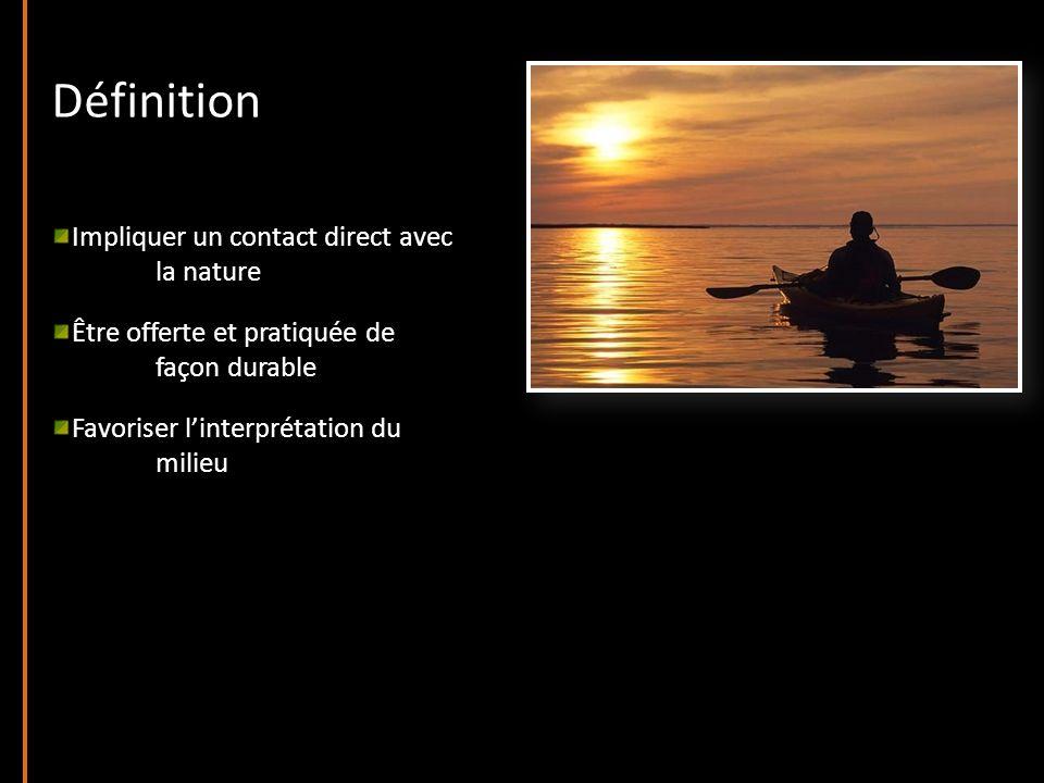 Définition Impliquer un contact direct avec la nature Être offerte et pratiquée de façon durable Favoriser linterprétation du milieu