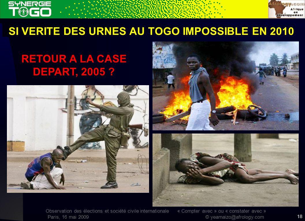 Observation des élections et société civile internationale « Compter avec » ou « constater avec » Paris, 16 mai 2009 © yeamaizo@afrology.com SI VERITE