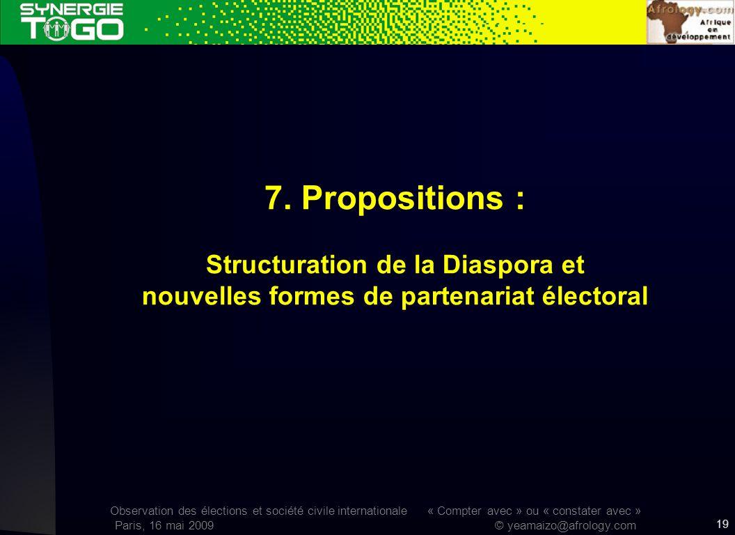 Observation des élections et société civile internationale « Compter avec » ou « constater avec » Paris, 16 mai 2009 © yeamaizo@afrology.com 7. Propos