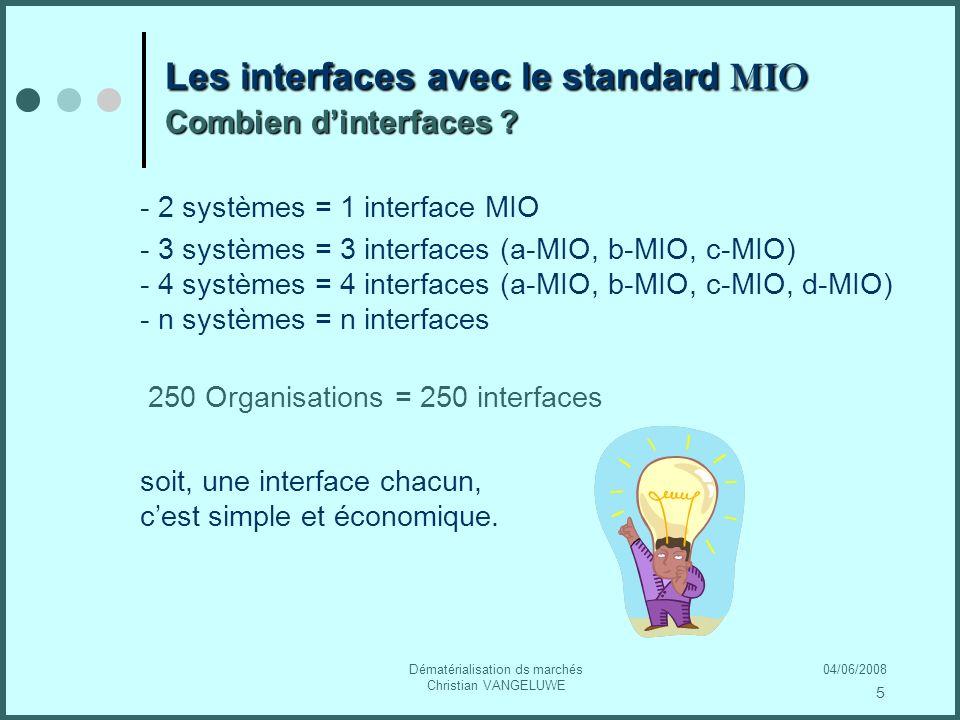 04/06/2008Dématérialisation ds marchés Christian VANGELUWE Les interfaces avec le standard MIO Combien dinterfaces .