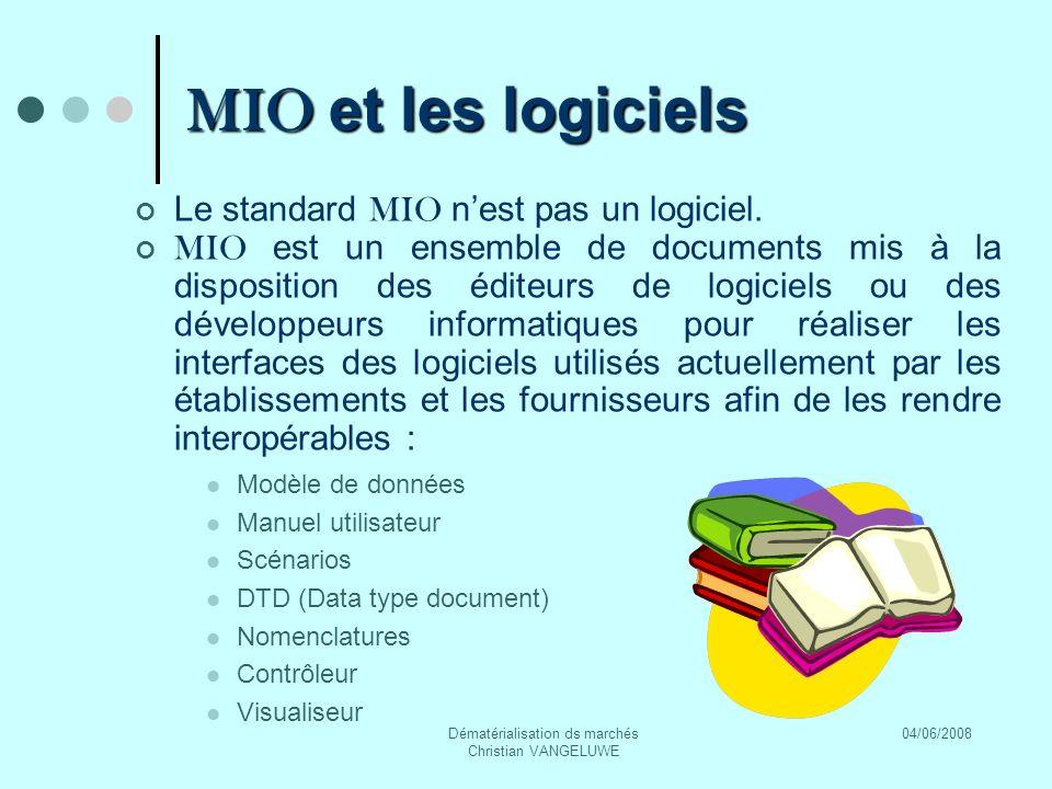 04/06/2008Dématérialisation ds marchés Christian VANGELUWE MIO et les logiciels Le standard MIO nest pas un logiciel.