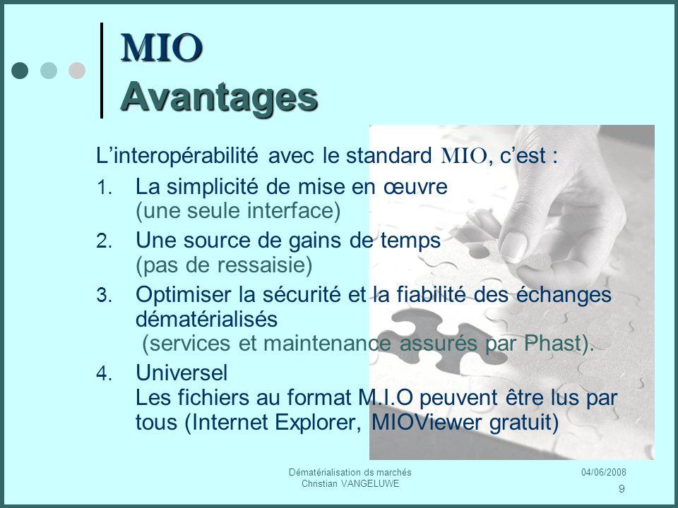 04/06/2008Dématérialisation ds marchés Christian VANGELUWE MIO Avantages Linteropérabilité avec le standard MIO, cest : 1.