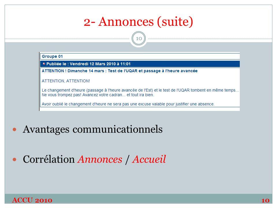 2- Annonces (suite) Avantages communicationnels Corrélation Annonces / Accueil ACCU 201010 10