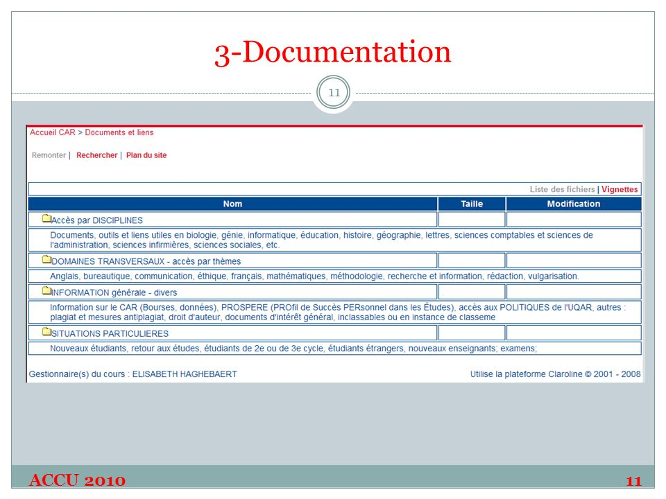 3-Documentation ACCU 2010 11 11