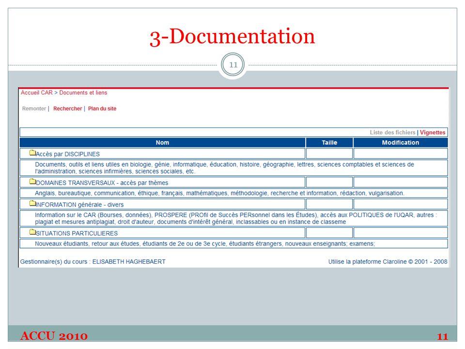 3-Documentation ACCU 2010 11 11