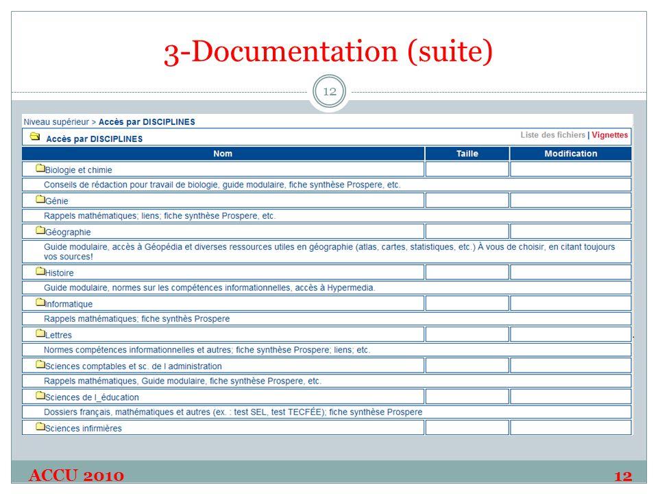 3-Documentation (suite) ACCU 2010 12 12