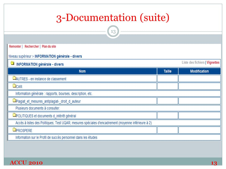 3-Documentation (suite) ACCU 2010 13 13