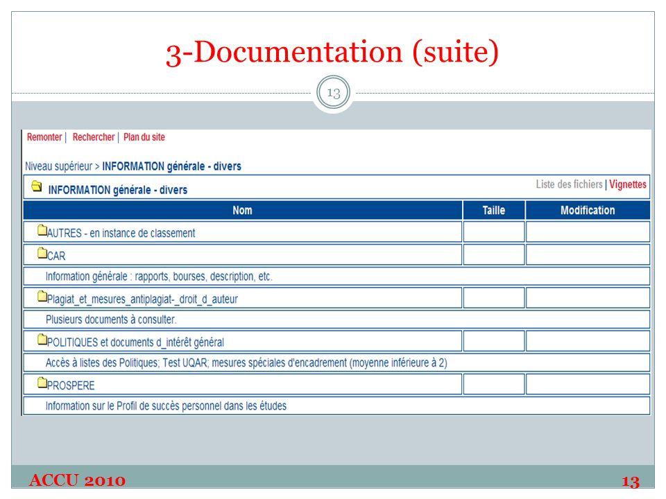 3-Documentation (suite) ACCU 2010 13 13
