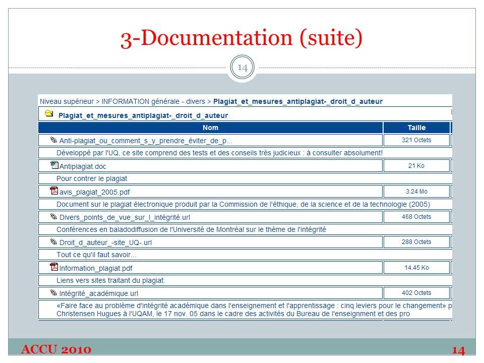 3-Documentation (suite) ACCU 2010 14 14