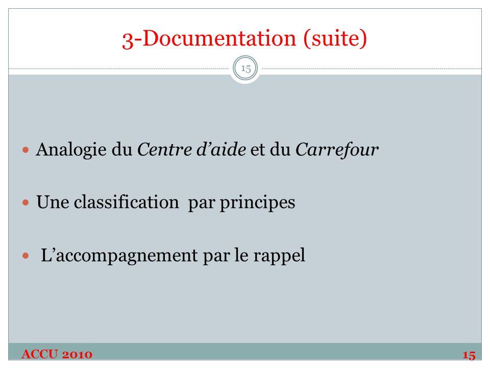 3-Documentation (suite) ACCU 201015 15 Analogie du Centre daide et du Carrefour Une classification par principes Laccompagnement par le rappel