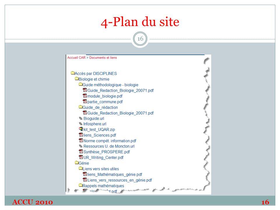 4-Plan du site ACCU 2010 16 16