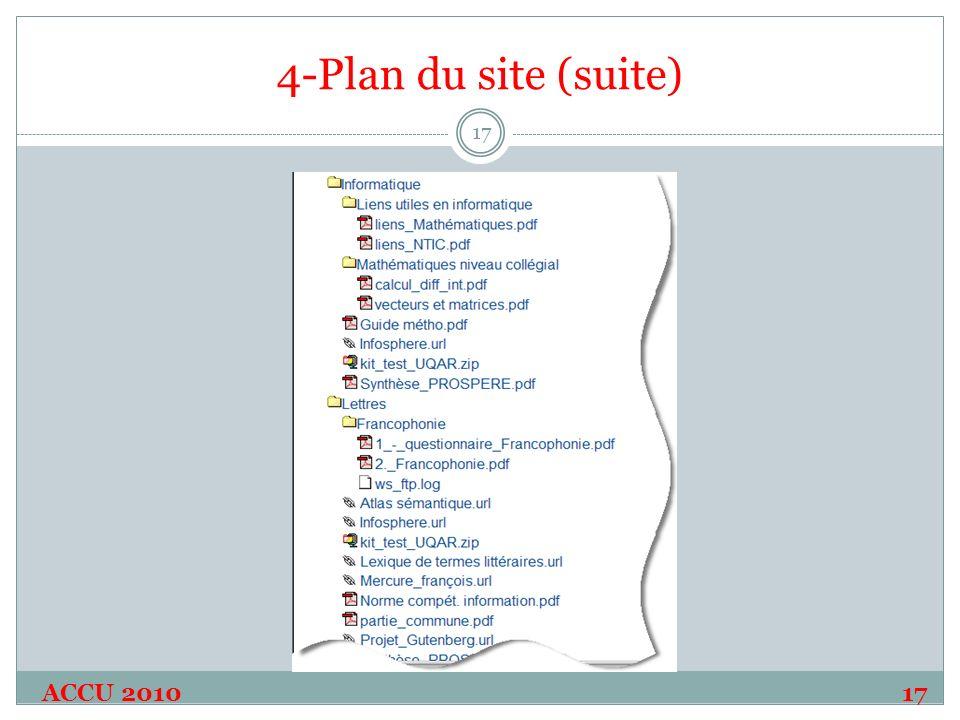 4-Plan du site (suite) ACCU 2010 17 17