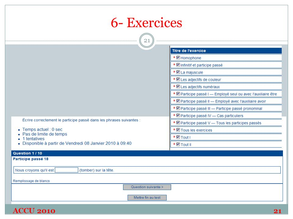 6- Exercices ACCU 2010 21 21