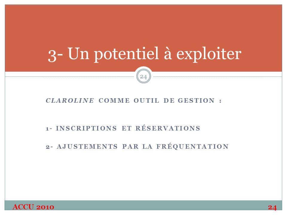 CLAROLINE COMME OUTIL DE GESTION : 1- INSCRIPTIONS ET RÉSERVATIONS 2- AJUSTEMENTS PAR LA FRÉQUENTATION ACCU 2010 24 24 3- Un potentiel à exploiter
