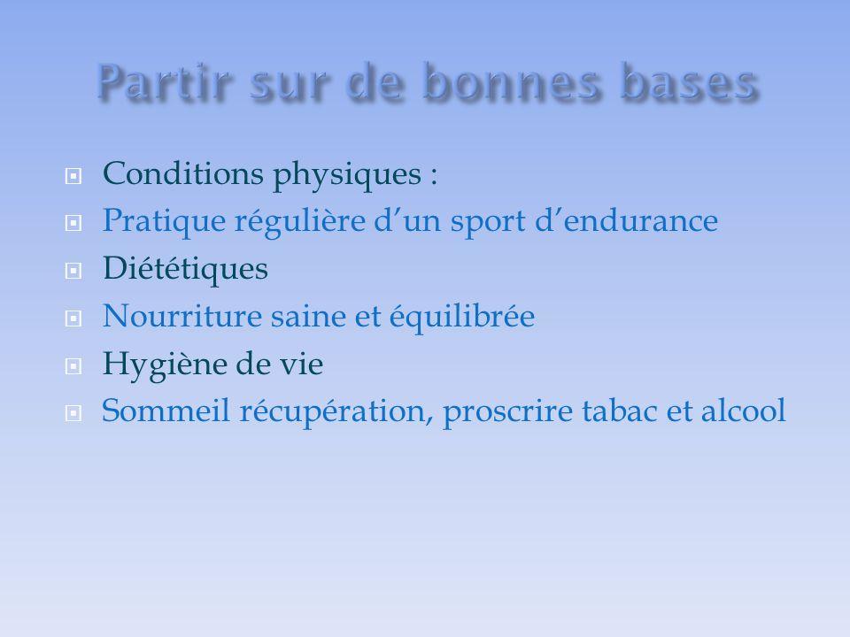 Conditions physiques : Pratique régulière dun sport dendurance Diététiques Nourriture saine et équilibrée Hygiène de vie Sommeil récupération, proscrire tabac et alcool