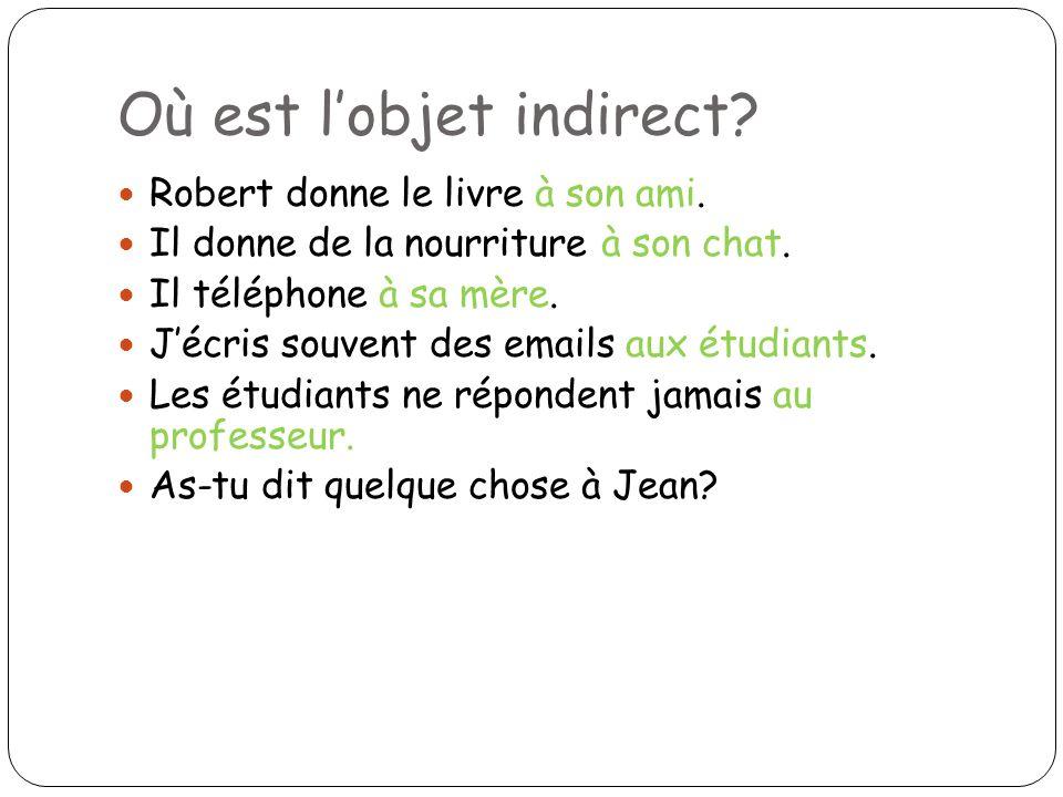 Où est lobjet indirect? Robert donne le livre à son ami. Il donne de la nourriture à son chat. Il téléphone à sa mère. Jécris souvent des emails aux é