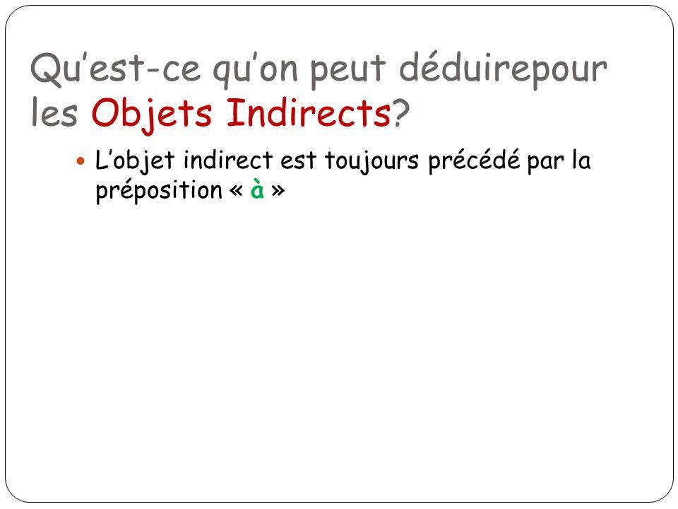 Quest-ce quon peut déduirepour les Objets Indirects? Lobjet indirect est toujours précédé par la préposition « à »