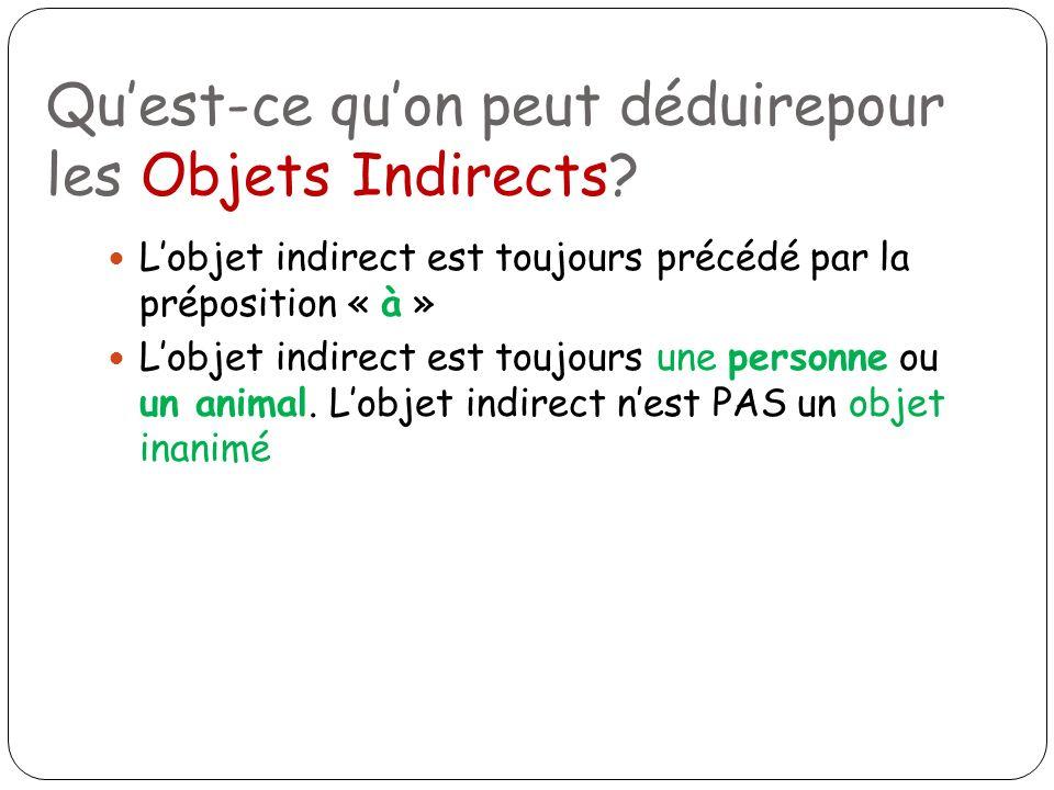 Lobjet indirect est toujours une personne ou un animal. Lobjet indirect nest PAS un objet inanimé Quest-ce quon peut déduirepour les Objets Indirects?