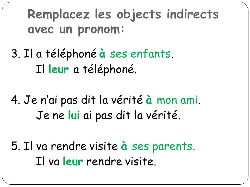 Remplacez les objects indirects avec un pronom: 3. Il a téléphoné à ses enfants. Il leur a téléphoné. 4. Je nai pas dit la vérité à mon ami. Je ne lui