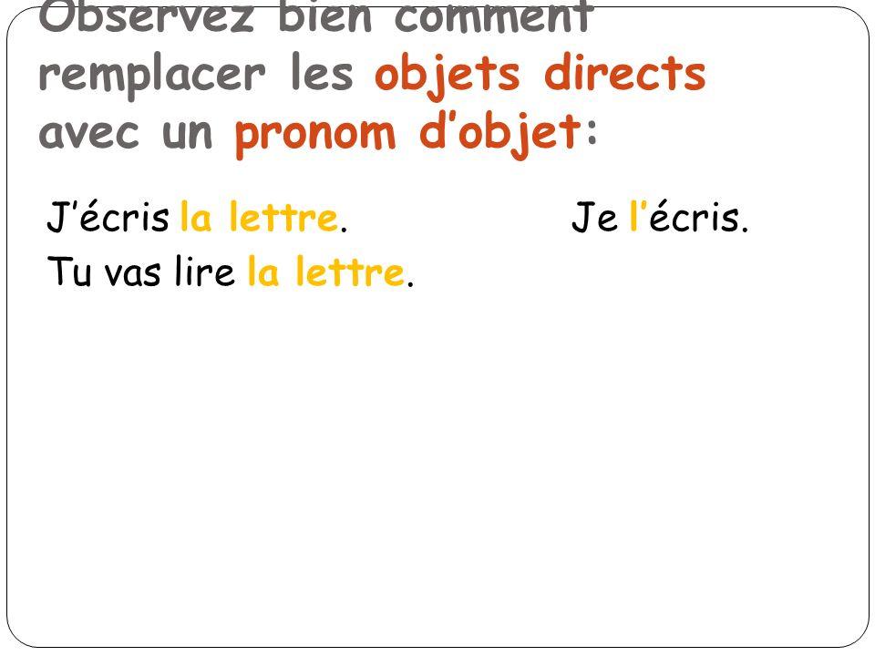 Tu vas lire la lettre. Observez bien comment remplacer les objets directs avec un pronom dobjet: