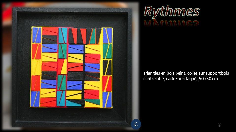 Triangles en bois peint, collés sur support bois contrelatté, cadre bois laqué, 50 x50 cm 11 C C