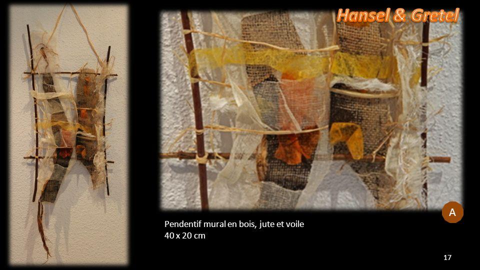 Pendentif mural en bois, jute et voile 40 x 20 cm 17 A A