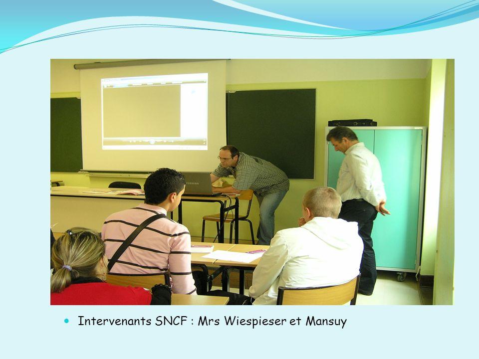 Intervenants SNCF : Mrs Wiespieser et Mansuy