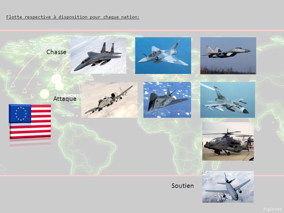 Flotte respective à disposition pour chaque nation: Chasse Attaque Soutien