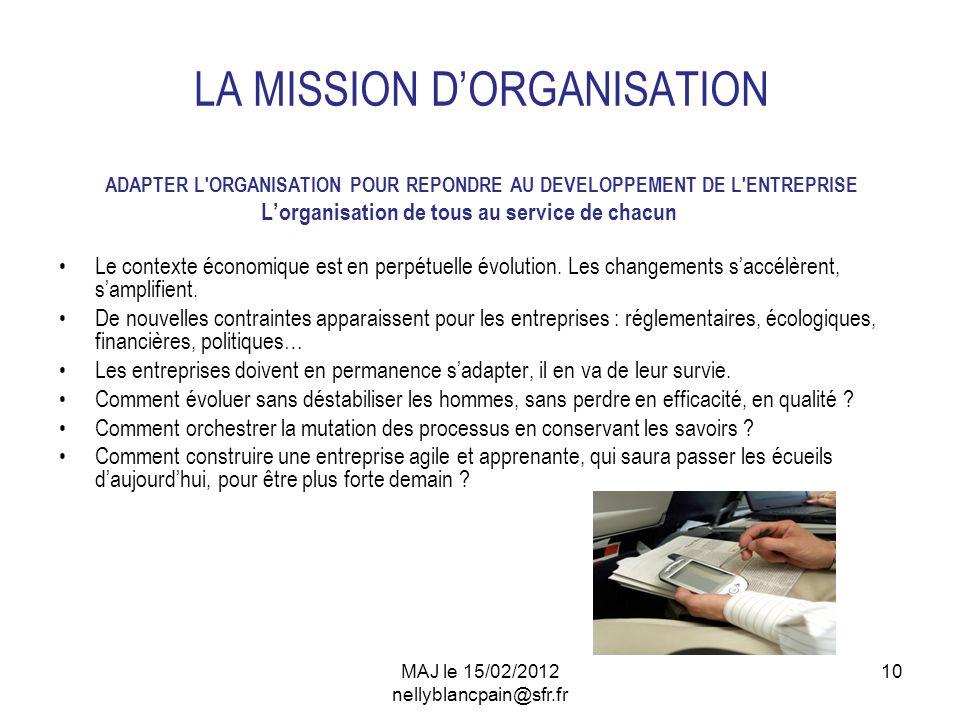 10 LA MISSION DORGANISATION ADAPTER L'ORGANISATION POUR REPONDRE AU DEVELOPPEMENT DE L'ENTREPRISE Lorganisation de tous au service de chacun Le contex