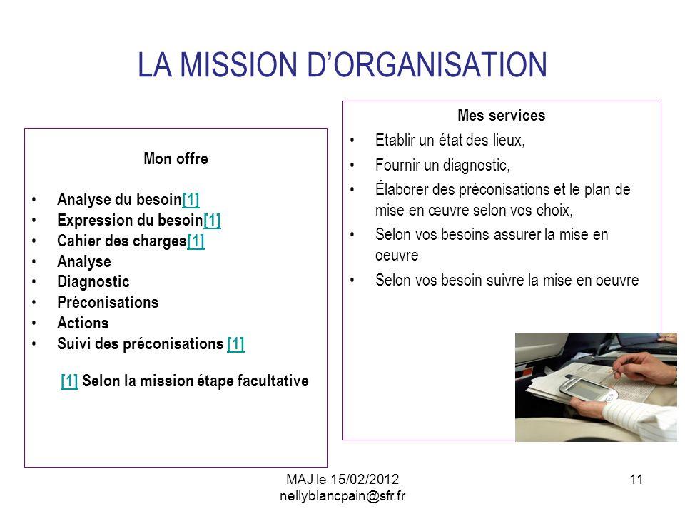 11 LA MISSION DORGANISATION Mon offre Analyse du besoin[1][1] Expression du besoin[1][1] Cahier des charges[1][1] Analyse Diagnostic Préconisations Ac