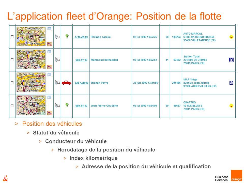 Lapplication fleet dOrange: Position de la flotte >Position des véhicules > Statut du véhicule > Conducteur du véhicule > Horodatage de la position du véhicule > Index kilométrique > Adresse de la position du véhicule et qualification