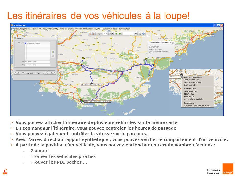 Les itinéraires de vos véhicules à la loupe! > Vous pouvez afficher litinéraire de plusieurs véhicules sur la même carte > En zoomant sur litinéraire,
