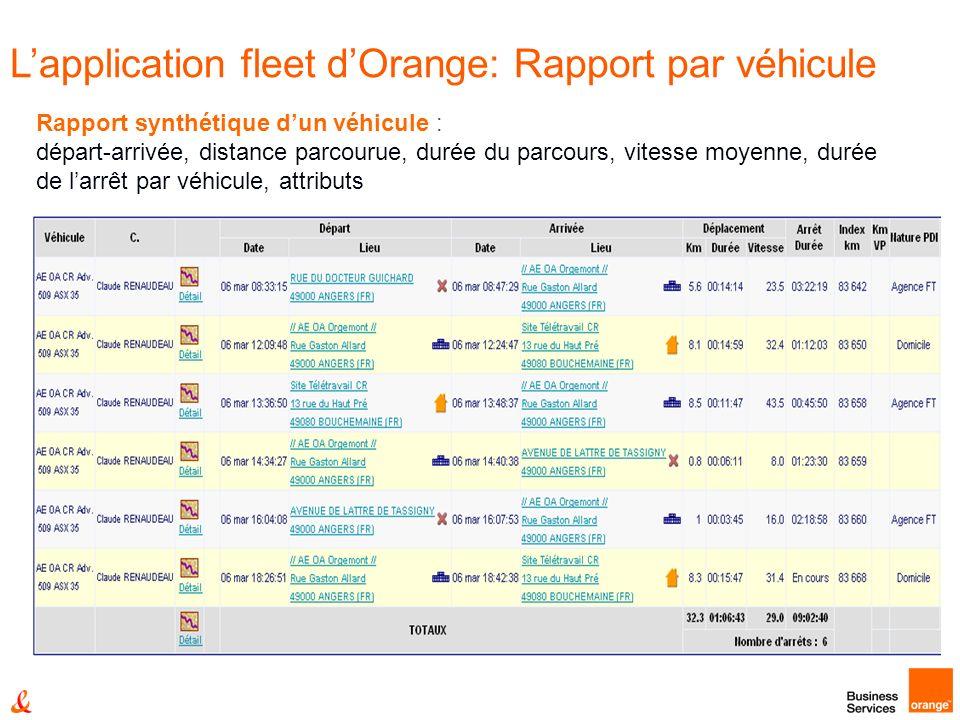 Rapport synthétique dun véhicule : départ-arrivée, distance parcourue, durée du parcours, vitesse moyenne, durée de larrêt par véhicule, attributs Lapplication fleet dOrange: Rapport par véhicule