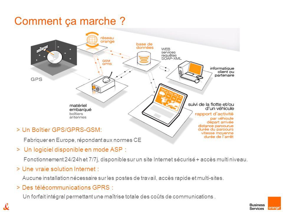 Comment ça marche ? > Un Boîtier GPS/GPRS-GSM: Fabriquer en Europe, répondant aux normes CE > Un logiciel disponible en mode ASP : Fonctionnement 24/2