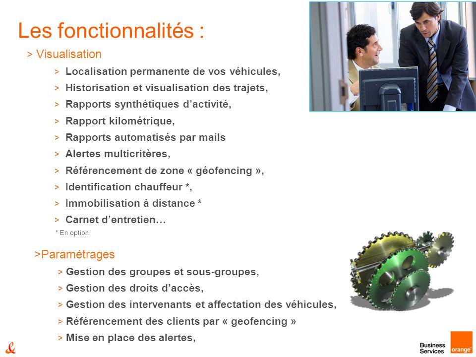 > Visualisation > Localisation permanente de vos véhicules, > Historisation et visualisation des trajets, > Rapports synthétiques dactivité, > Rapport