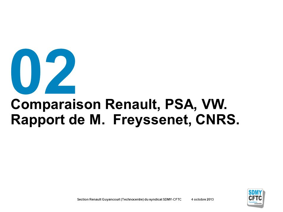 Section Renault Guyancourt (Technocentre) du syndicat SDMY-CFTC 4 octobre 2013 Comparaison Renault, PSA, VW.