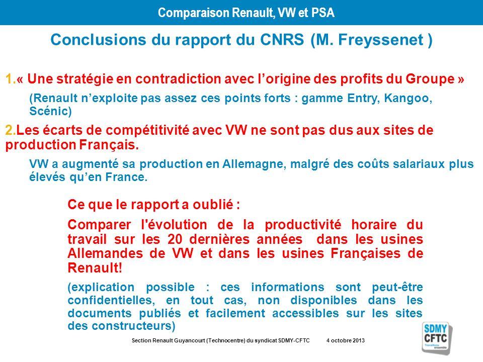Section Renault Guyancourt (Technocentre) du syndicat SDMY-CFTC 4 octobre 2013 Comparaison Renault, VW et PSA Conclusions du rapport du CNRS (M. Freys