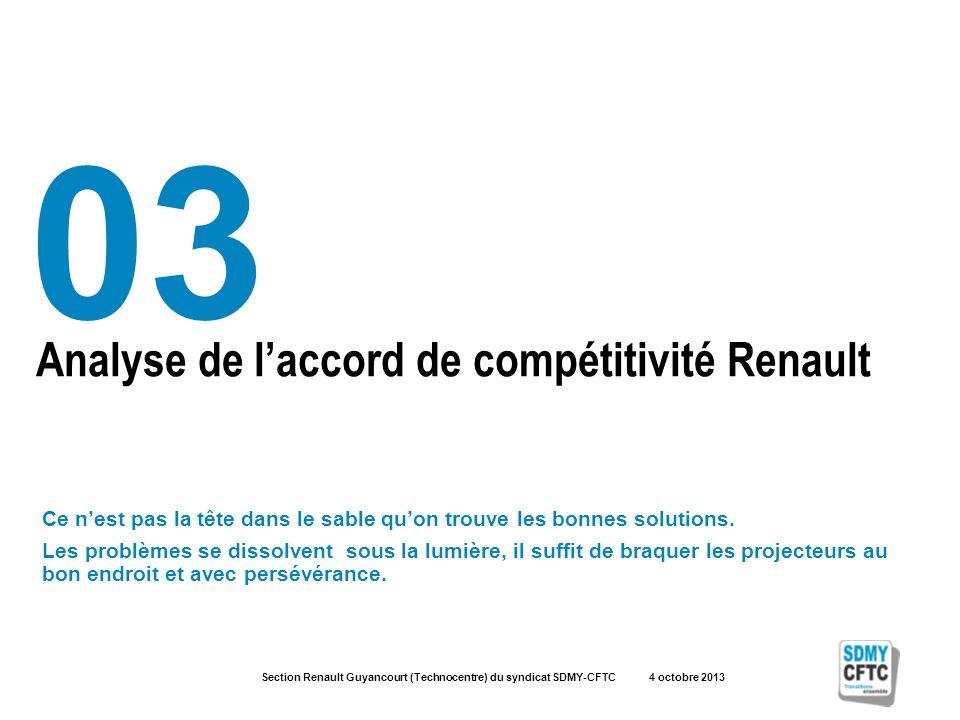 Section Renault Guyancourt (Technocentre) du syndicat SDMY-CFTC 4 octobre 2013 Analyse de laccord de compétitivité Renault 03 Ce nest pas la tête dans le sable quon trouve les bonnes solutions.
