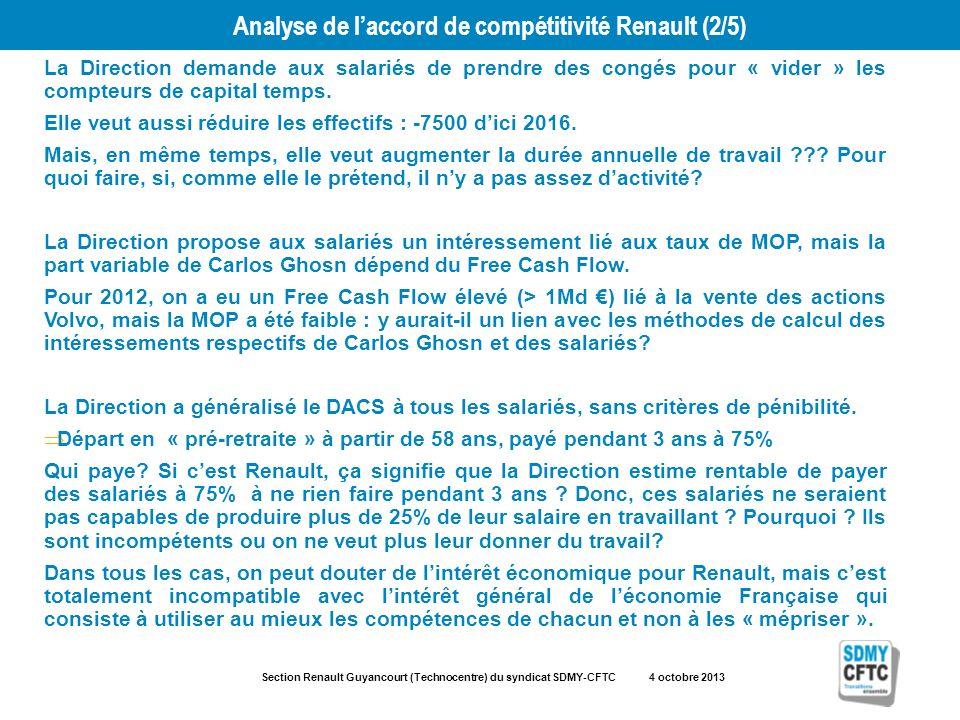 Section Renault Guyancourt (Technocentre) du syndicat SDMY-CFTC 4 octobre 2013 Analyse de laccord de compétitivité Renault (2/5) La Direction demande aux salariés de prendre des congés pour « vider » les compteurs de capital temps.