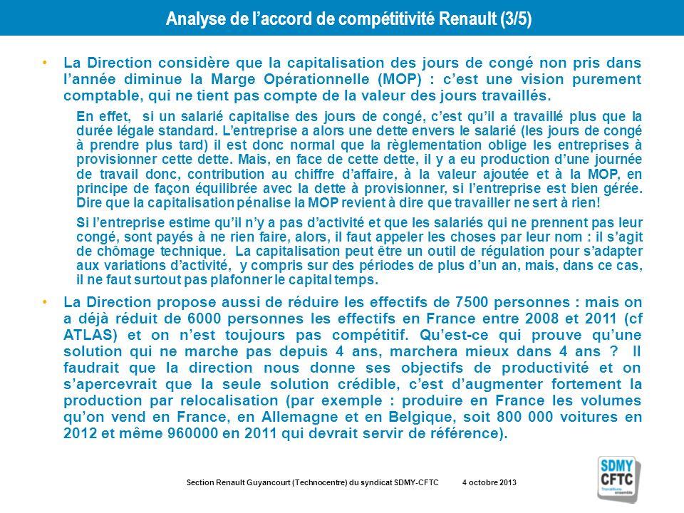 Section Renault Guyancourt (Technocentre) du syndicat SDMY-CFTC 4 octobre 2013 Analyse de laccord de compétitivité Renault (3/5) La Direction considèr