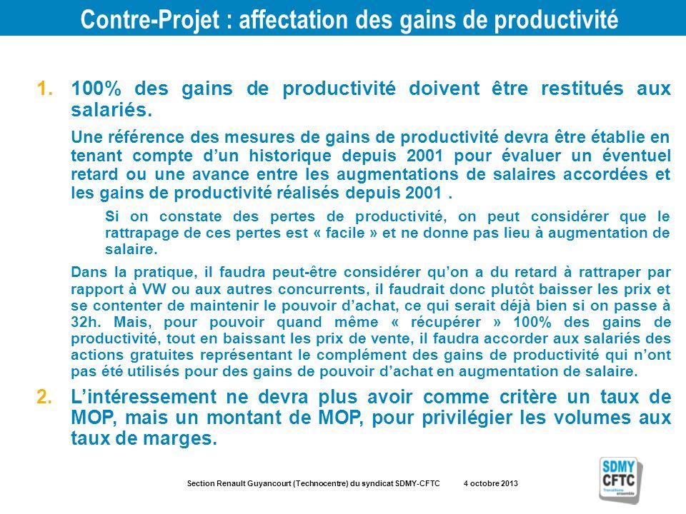 Section Renault Guyancourt (Technocentre) du syndicat SDMY-CFTC 4 octobre 2013 Contre-Projet : affectation des gains de productivité 1.100% des gains de productivité doivent être restitués aux salariés.