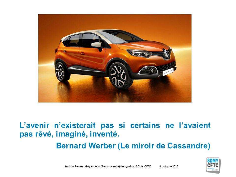 Section Renault Guyancourt (Technocentre) du syndicat SDMY-CFTC 4 octobre 2013 Lavenir nexisterait pas si certains ne lavaient pas rêvé, imaginé, inventé.