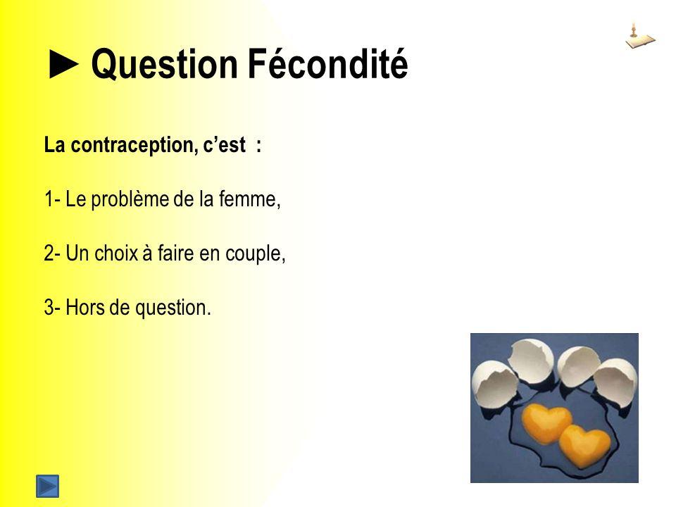 Question Fécondité La contraception, cest : 1- Le problème de la femme, 2- Un choix à faire en couple, 3- Hors de question.