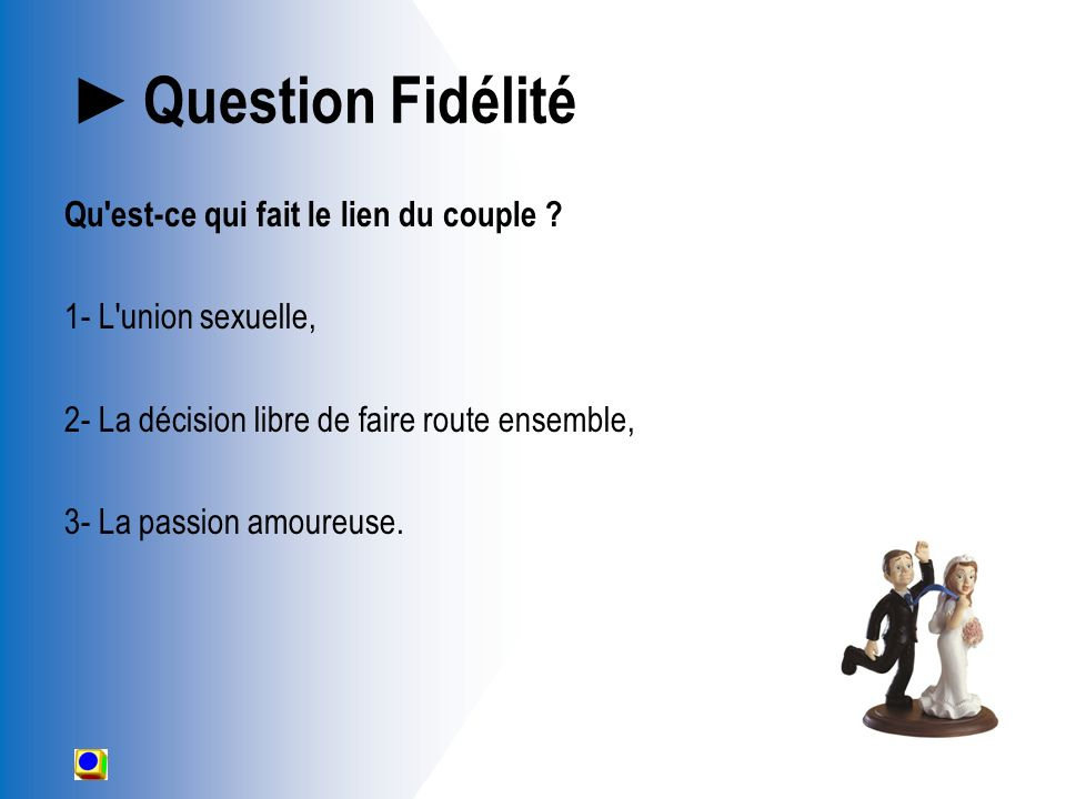 Question Fidélité Qu est-ce qui fait le lien du couple .