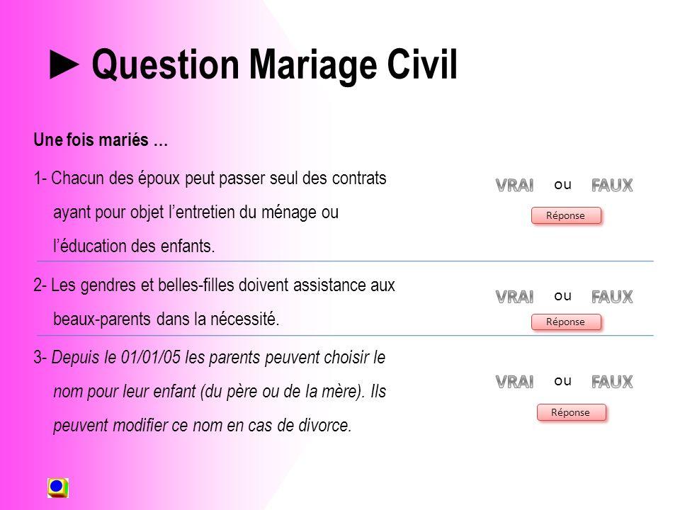 Question Mariage Civil Une fois mariés … 1- Chacun des époux peut passer seul des contrats ayant pour objet lentretien du ménage ou léducation des enfants.