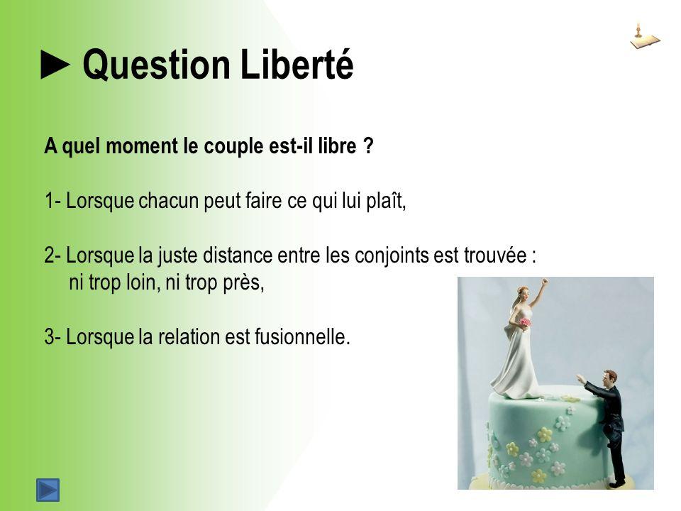 Question Liberté A quel moment le couple est-il libre .