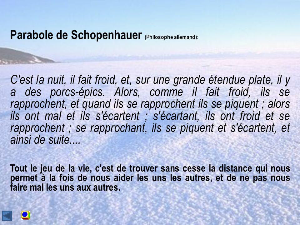 Parabole de Schopenhauer (Philosophe allemand): C est la nuit, il fait froid, et, sur une grande étendue plate, il y a des porcs-épics.