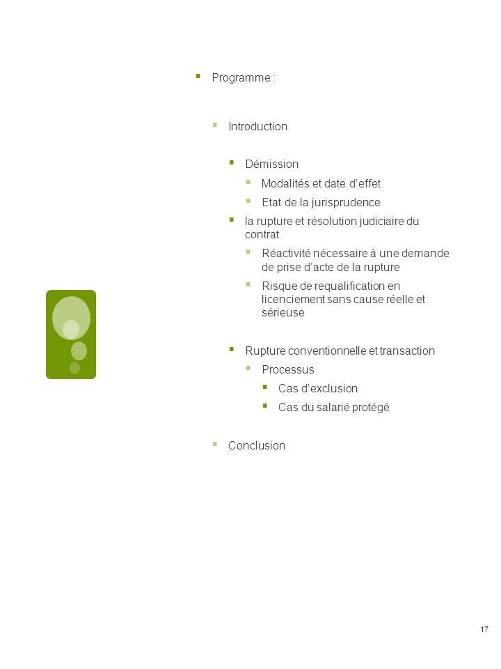 Programme : Introduction Démission Modalités et date deffet Etat de la jurisprudence la rupture et résolution judiciaire du contrat Réactivité nécessaire à une demande de prise dacte de la rupture Risque de requalification en licenciement sans cause réelle et sérieuse Rupture conventionnelle et transaction Processus Cas dexclusion Cas du salarié protégé Conclusion 17