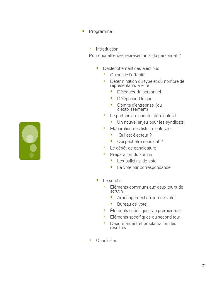 Programme : Introduction Pourquoi élire des représentants du personnel .